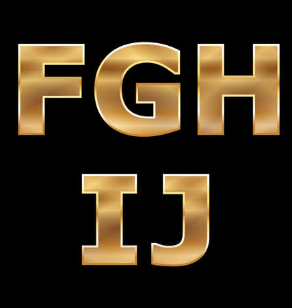 Gold Letters Set F-J Stock Vector - 13708569