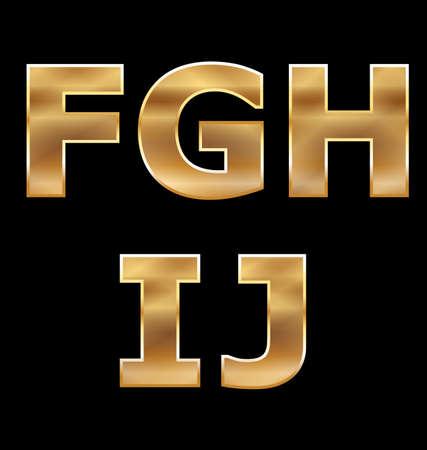 letras doradas: Letras de oro Establecer FJ Vectores