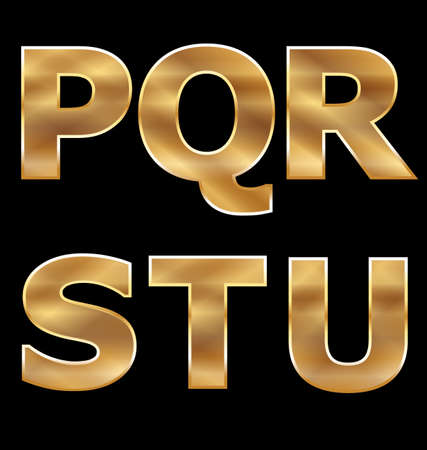 Gold Letters Set P-U Stock Vector - 13708565