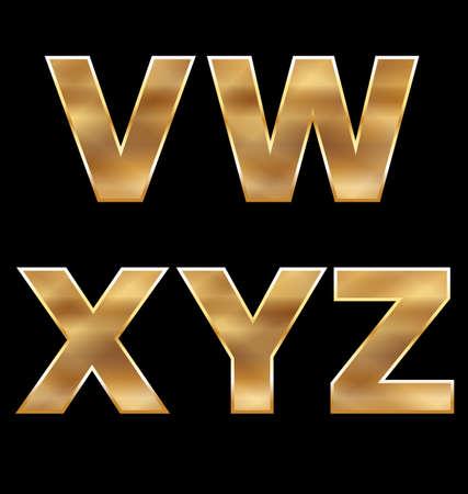 gold letters: Gold Letters Set V-Z Illustration
