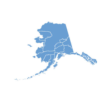 State Map of Alaska by counties