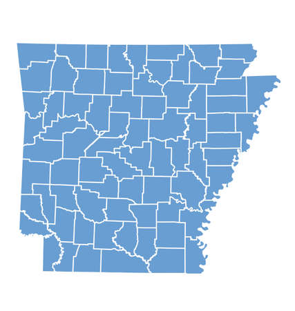 State map of Arkansas by counties Vector