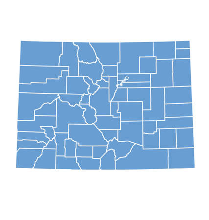 colorado: State map of Colorado by counties Illustration