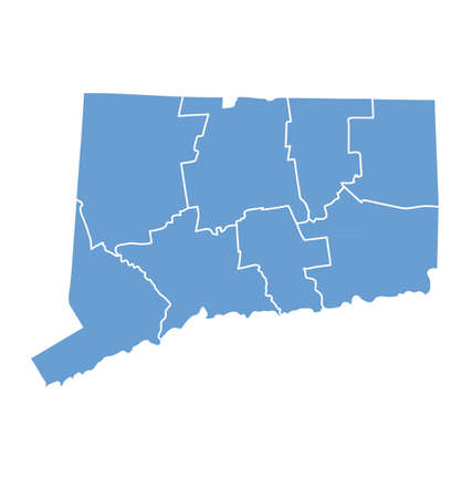 counties: State map of Connecticut by counties