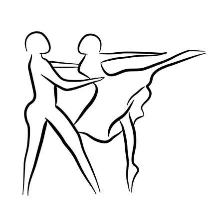 Couple dancing sketch concept Illustration