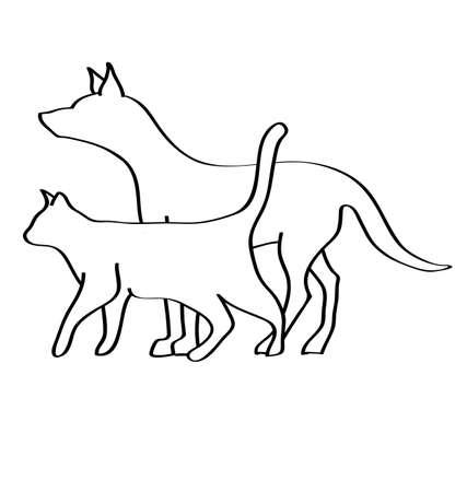 contorno: Veterinaria del perro y el gato Vectores