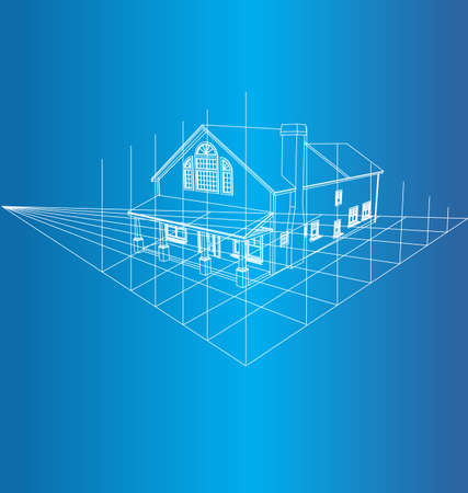 plan maison: Dessin de la maison sur un fond bleu