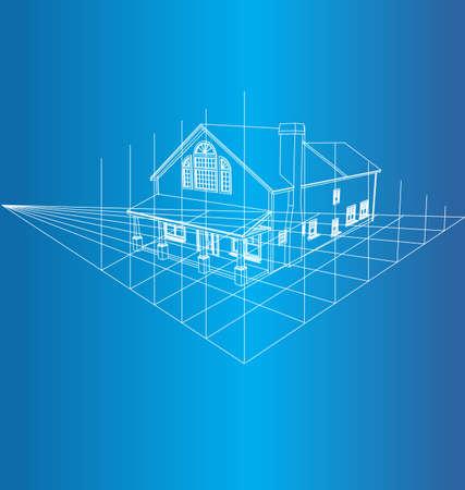 Tekening van het huis op een blauwe achtergrond