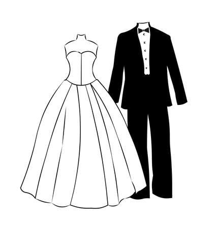 robe noire: vient de se marier Illustration