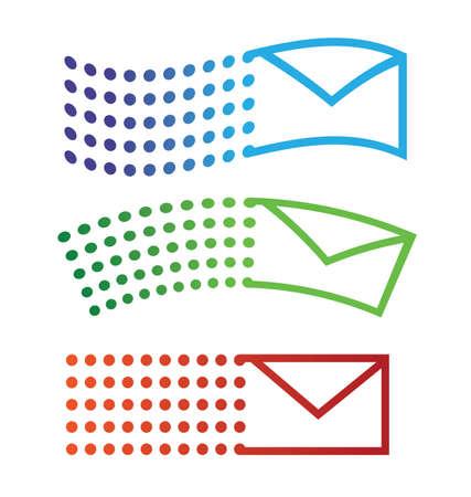 이메일 3 개의 유사에 아이콘 비행 일러스트