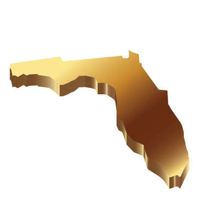 Florida 3D solid gold map  Vector
