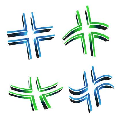 cruz roja: Ilustraci�n vectorial de 3D cruz Vectores