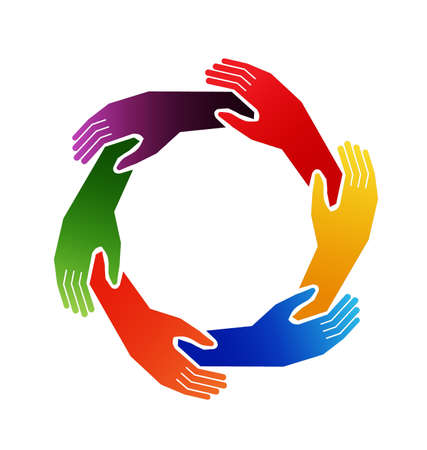 diverse hands: Caring hands in circle