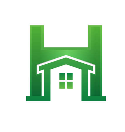 Green house inside H letter Vector
