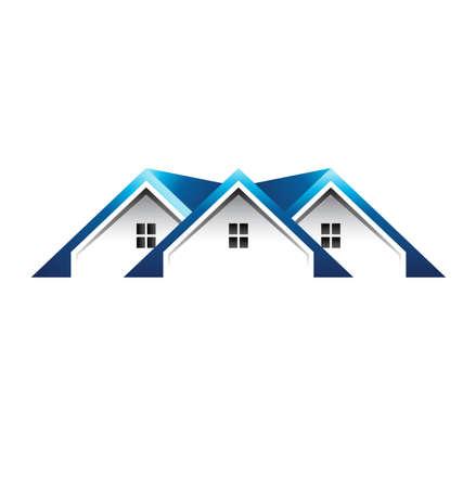 Dak huizen Stock Illustratie