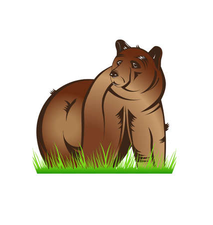 Bear in Prairie Vector