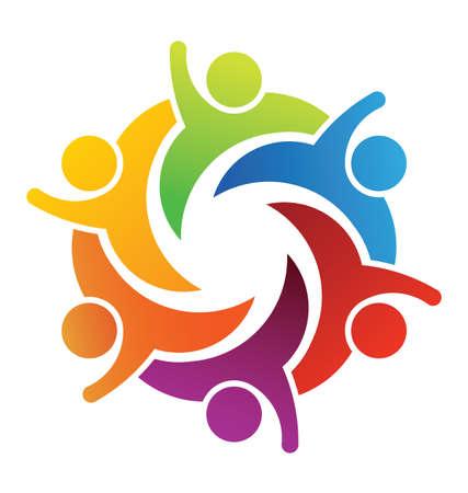 mensen kring: Teamwork Zes Mensen Stock Illustratie