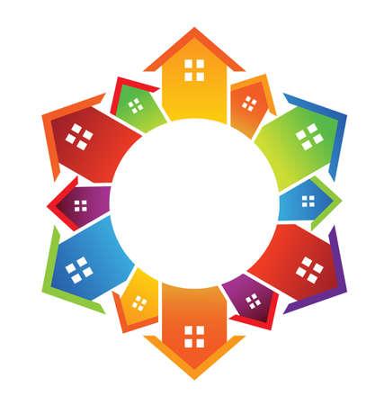 Cirkel van huizen Stock Illustratie