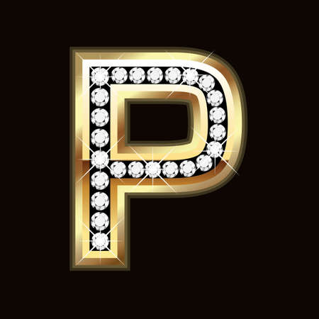 gold letters: P bling