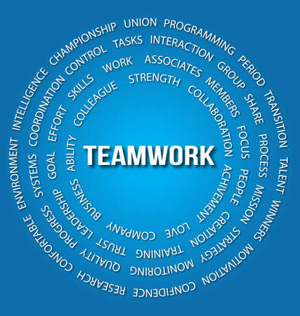 Teamwork concept in circles Vector