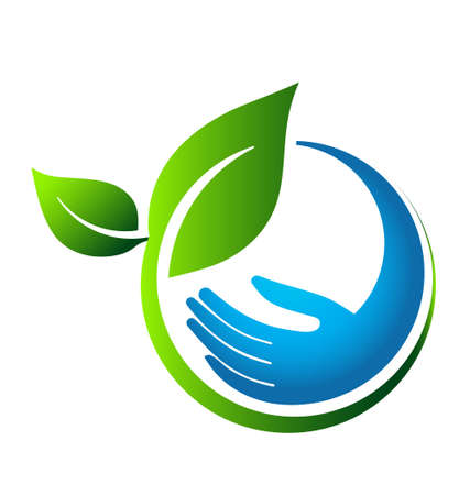 ecology emblem: Green leaves eco hand