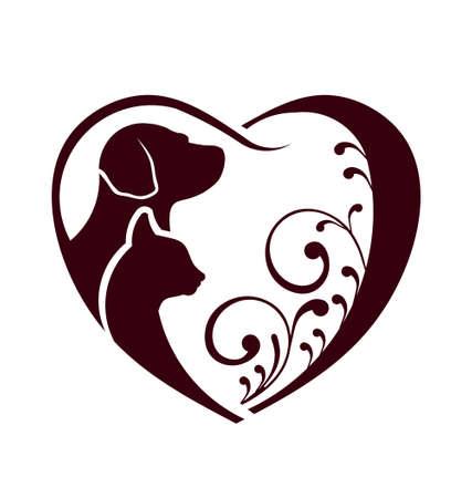 silueta de gato: Perro del gato del amor del corazón