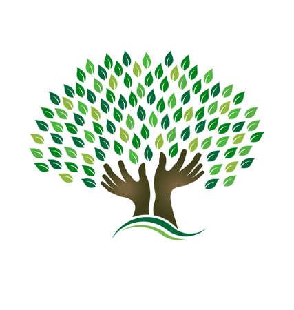 earth in hand: Con la esperanza de manos Tree Vectores
