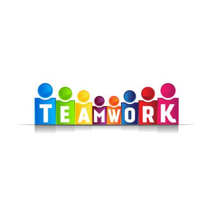 trabajo de equipo: Concepto de trabajo en equipo palabra Vectores
