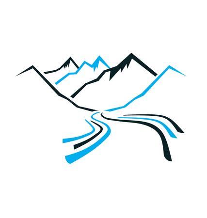 山と渓谷  イラスト・ベクター素材