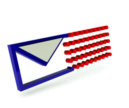 3d art: Email icon with trail