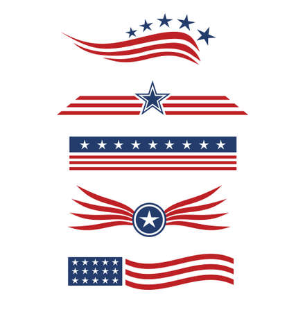 design elements: USA star flag design element