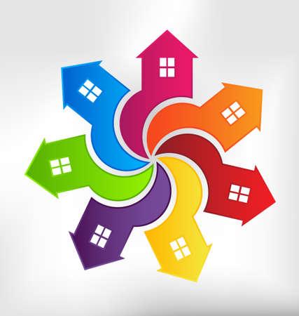 viviendas: Casas Vortex elemento de dise�o Vectores
