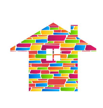 Color Stone House Estate Icon Stock Vector - 21747798