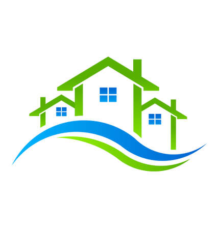 Real Estate Huizen Icoon Stock Illustratie