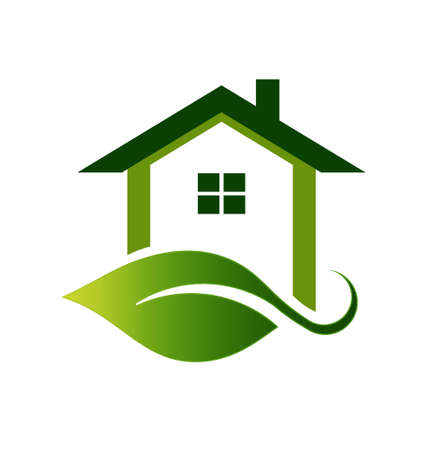 녹색 생태 집 일러스트