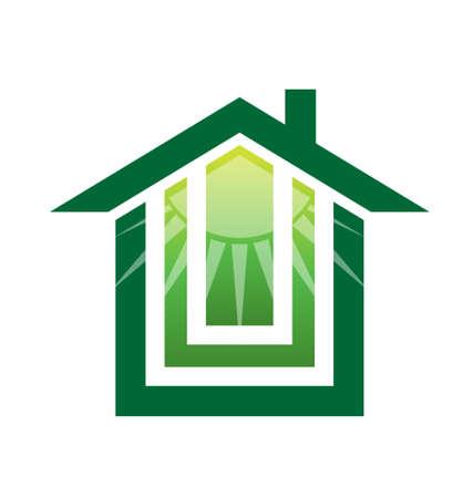 maison solaire: Maison verte solaire Illustration