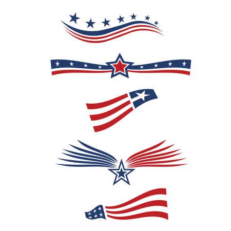 愛国心: アメリカの星国旗のデザイン要素  イラスト・ベクター素材