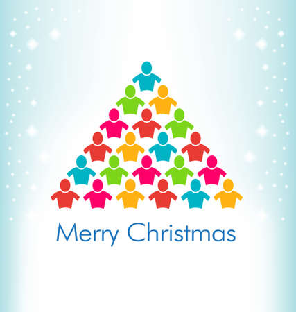 People Christmas Color Tree Vector