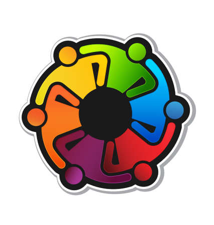 Teamwork Hugging 6 sticker  Vector