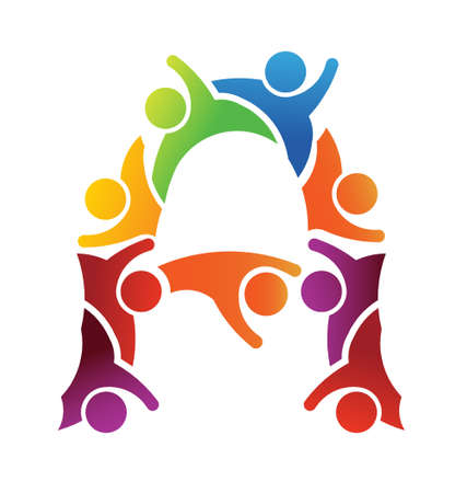 solidaridad: Alphabet Teamwork Letra A Vectores