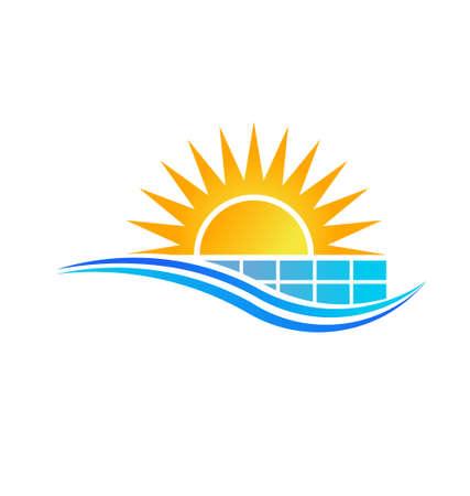 radiacion solar: Sun con Panel Solar Vector