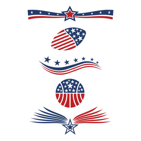 미국 별 깃발 아이콘 디자인 요소 벡터 일러스트