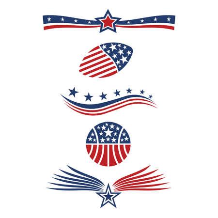 patriotic america: USA star flag icon design elements vector