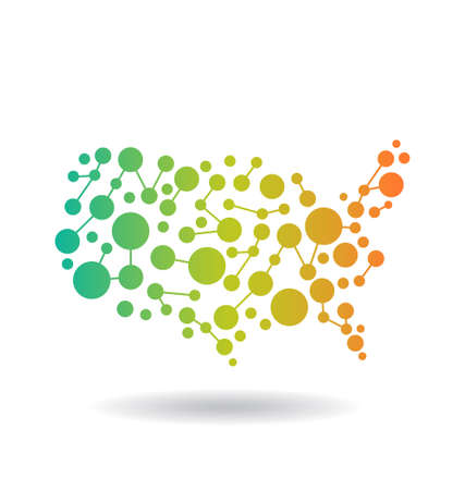 USA Map networking Vector