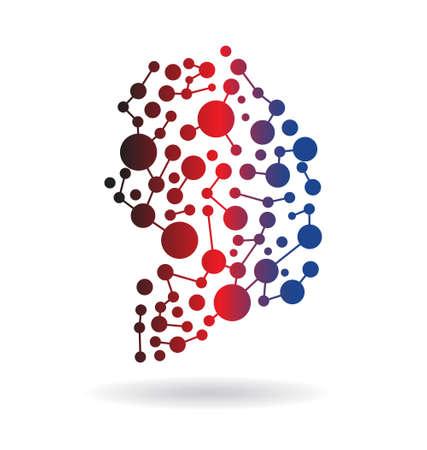 sur: Corea del Sur Networking Mapa Vectores