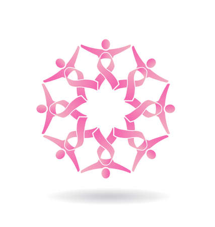 Power Pink Ribbon People Illustration