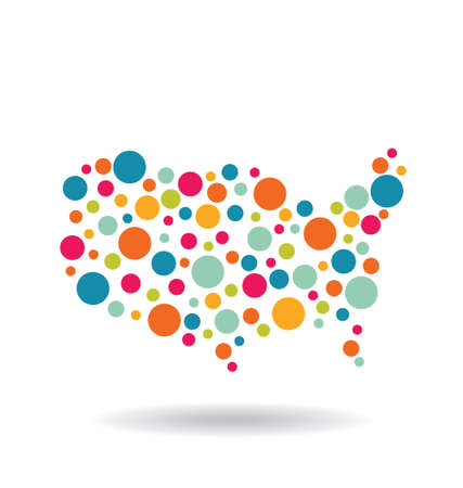 USA circles map Vector