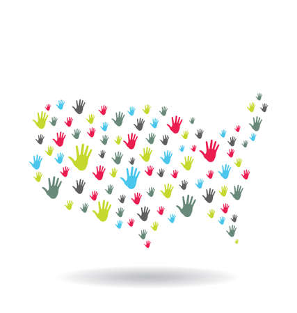 USA Hands Map Vector