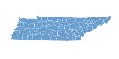 tennesse: Estado de Tennessee por los condados Vectores