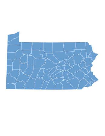 Pennsylvania State dalle contee Vettoriali